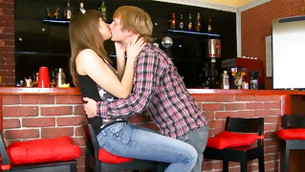 Young cute boy is making out with just picked up hot chick