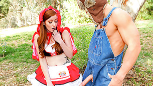Horny hunter is meeting an insanely salacious red head right in the woods