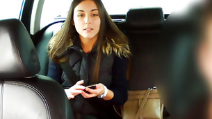 Lovely really good looking brunette is riding a car seductively before sex