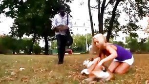 Thin blonde whore with amazing body parts jumping on this huge black cock