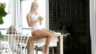 Blone chick with nice mangos is pounded hard and rough on the huge table