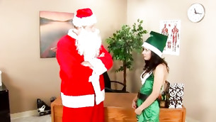 Lady is loading sounds while Santa is eating away her palatable aromatic muff eye