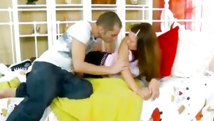 Brown-haired hot model staying on knees before getting her boyish ass touched