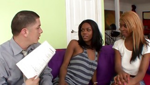 Two ebony courtesans are posing before guy offering them fucking