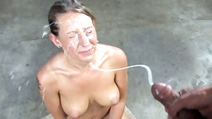 Sweet whore getting her abusing face covered in sloppy lustful cum shots