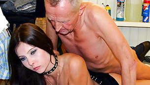 Naughty BDSM loving girl is getting fucked by an elderly dude rough