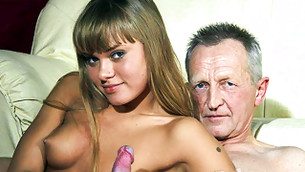 Yummy heart bimbo is giving her old fellow a nice hand job fast