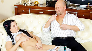 Dribblet with exposed billibongs and minge is ready to be spurted by bald fellow