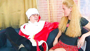 Rigid fellow in Santa's costume is palatable this enduring haired beauty