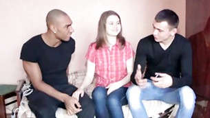 Two outrageous chums are persuading this teen damsel to have sex with them