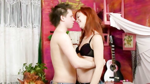 Flavor libertine redhead girl is getting unveiled by her lover for buggering