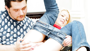 Blondie is positive while beamy playmate I touching her broadly orifice